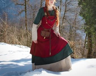 "Viking costume dress; ""Freya"" dress; viking apron; linen dress; natural fabric; northern clothes; viking clothes; viking dres"