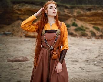 "Viking dress and apron ""Shielmaiden""; Viking dress; Medieval dress; Natural fabric; Reenactment"