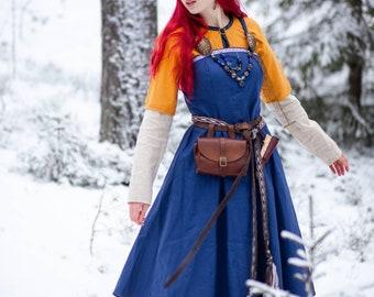 "Viking costume ""Frigg""; Viking dress; Linen dress; Natural fabric; Northern clothes; Viking clothes; Viking hangerock"