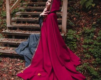 Hooded cloak; Cloak with hood; Fantasy cape; Fantasy cloak; Medieval cloak