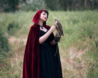 Ready to ship! Velvet hooded cloak; Hooded cloak; Forest druid; Medieval long cape