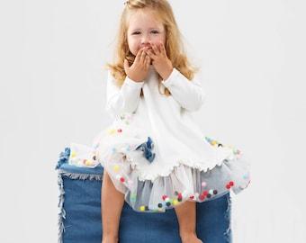 White dress girls, tutu dress toddler, baby girl dress with long sleeves, tutu dress for toddler girl, white cotton dress with tulle