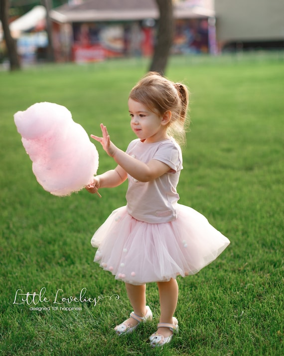 df2ef07db7 Blush tutu for girls with pastel pom poms blush tulle skirt | Etsy