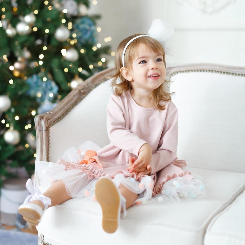 Dusty rose child dress Tutu girl dress Pom Pom Dress Blush pink Pom Pom Blush flower girl dress Toddler Dress Ivory Flower girl
