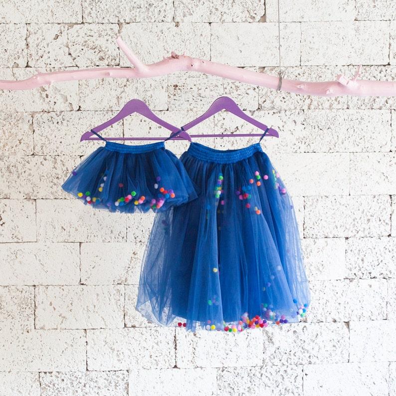 0fbfe6500a082 Dark blue tutu skirt for girls, dark blue pompom tutu, dark blue tulle  skirt, first birthday tutu, navy blue tulle skirt, cake smash tutu