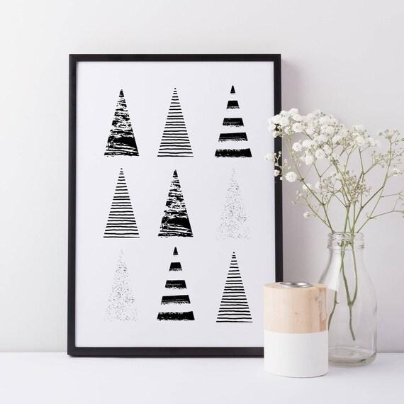 christmas tree monochrome print scandinavian christmas art etsy