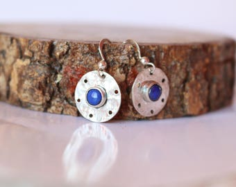 GAELIA Silver earrings hammered and Lapis Lazuli