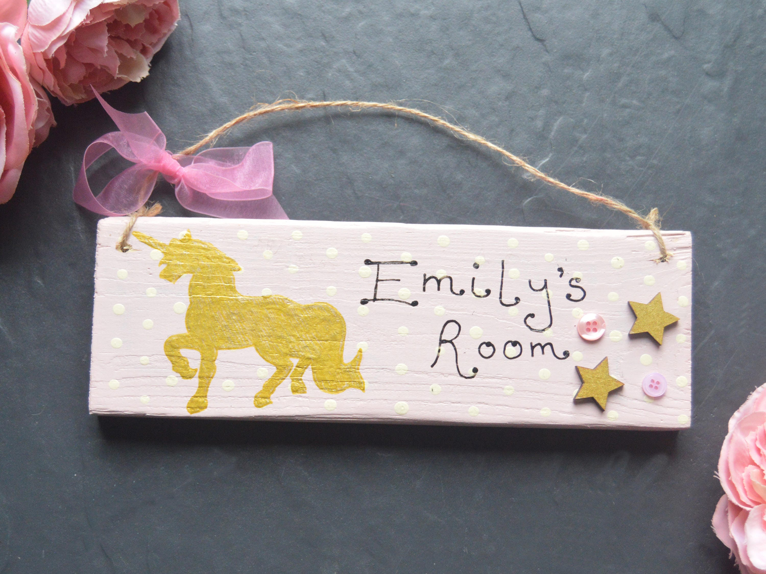 Personalised Name Plaque Door Nursery Bedroom Sign Gift Baby Girls Unicorn Room Home Decor Home Decor Plaques Signs