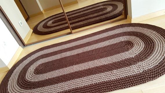 Tappeto Ovale Alluncinetto : Tappeto all uncinetto ovale due colori crochet tappeto etsy