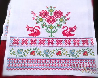 Wedding towel The loaches; Russian ritual towel; Russian traditional towel; Folk embroidery towel