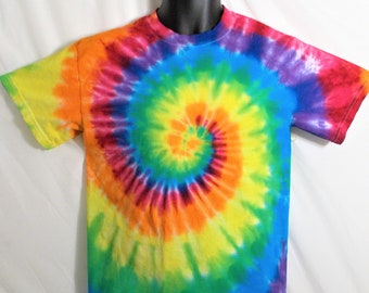 6583799ce9b Rainbow Tie Dye, Small Rainbow Shirt, Gay Pride T shirt, Rainbow Spiral,  Hippie Clothes, Colorful Shirt, Fun Gift for Hippy, Hand Made