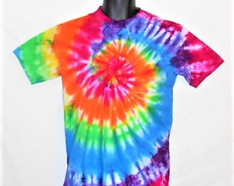Kid's Tie Dyed tee shirt, Size XL, Hippy Rainbow Spiral, Kids tie dye clothing, fun shirt, unique gift idea, gay pride shirt,    KT24