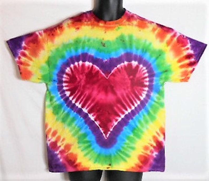 c3901ec524b6 Rainbow Heart Tie Dye XL Tie Dye Shirt Gay Pride Shirt