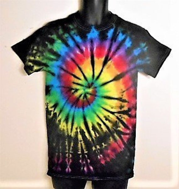 facce20e5bb4 Tie Dye Shirt Unisex size Small S Rainbow and Black Tie