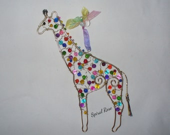 492384cb8d5 Rainbow Giraffe Wire and Bead Suncatcher