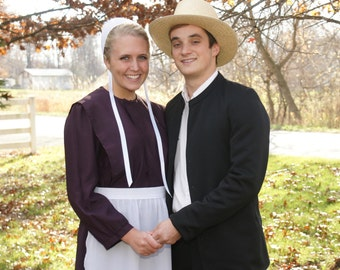 Amish Couples Outfit Man with Suit Coat and Woman full costume Go Dutch! All you need!