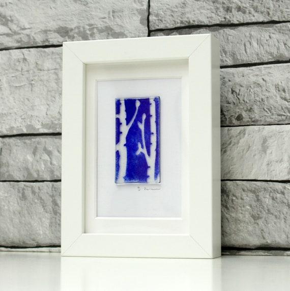 fused glass artwork glass wall art framed birch tree art | Etsy