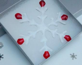 Fused glass snowflake - large Christmas decoration - hand cut art glass - Xmas ornament - colour choices - window sun catcher - UK seller