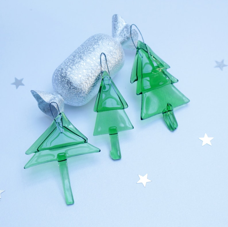 Fused Glass Christmas Ornament Set Of 3 Contemporary Glass Etsy