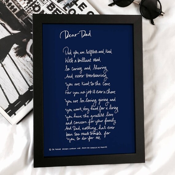 Dad Poem Dad Gift Dad Gift From Daughter Dad Print Etsy