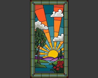 Sunrise stained glass cross stitch/tapestry chart by Vivienne Powers