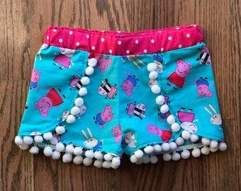 Peppa Pig coachella shorts, girls Peppa Pig shorts, Girl clothes, Pom Pom shorts