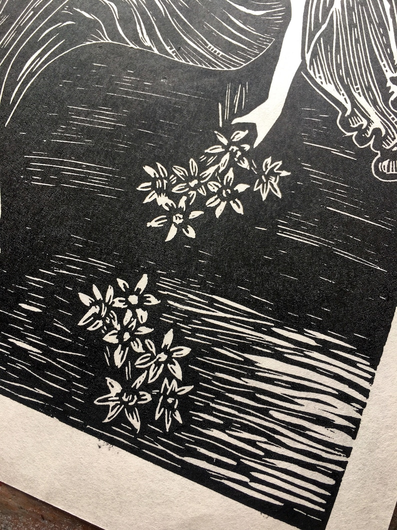 Greek Mythology Oh Fate to Pluck the Narcissus Persephone Hand Printed Linocut- Original Limited Block Print Art