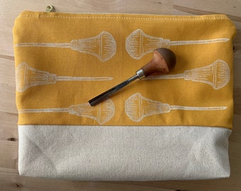Carving Artist Tools Utility Bag-  Block Printed Canvas Pouch - Goldenrod with Pfeil Tool