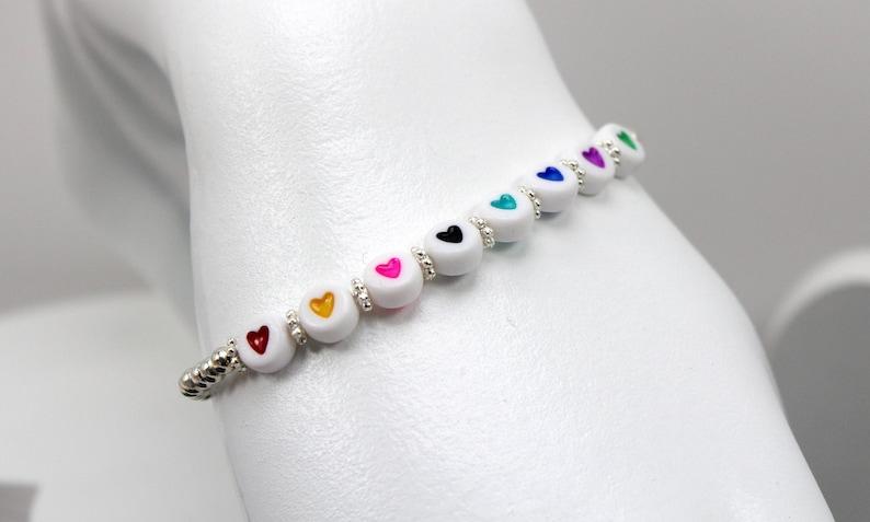 Beaded Heart Bracelet Teen Heart Bracelet Stretch Heart Bracelet Heart Bead Bracelet Valentines Day Bracelet Beaded Valentines Bracelet