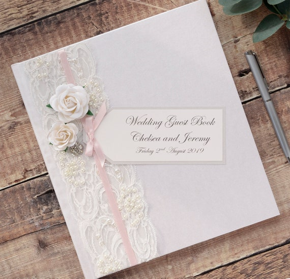 Guest Book Wedding Hardcover Vintage Lace Photo Book-Personalised Bride and Groom