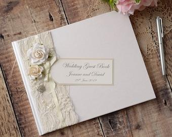 Personalised Wedding Guest Book. Luxury Vintage Style Rose, Lace & Jewel Design. Handmade Wedding Guest Book. Wedding Keepsake.