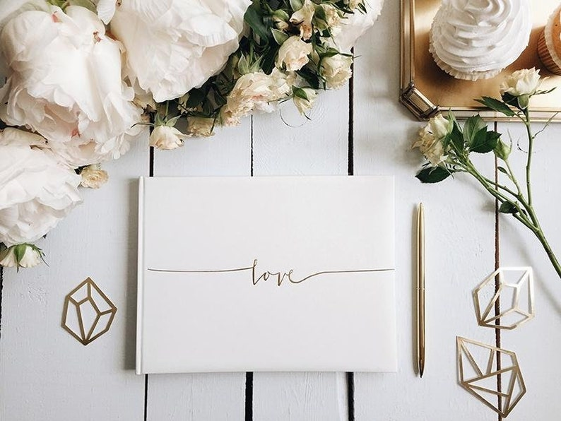 Wedding Guest Book & Box.  Guest Book with 'Love' image 0