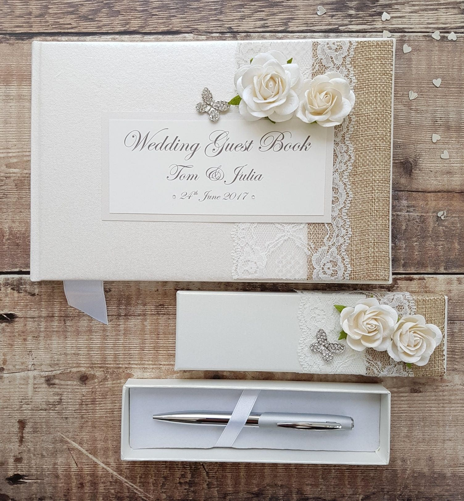 Wedding Photo Books Uk: Wedding Guest Book And Pen Set Handmade Hessian Lace Rose