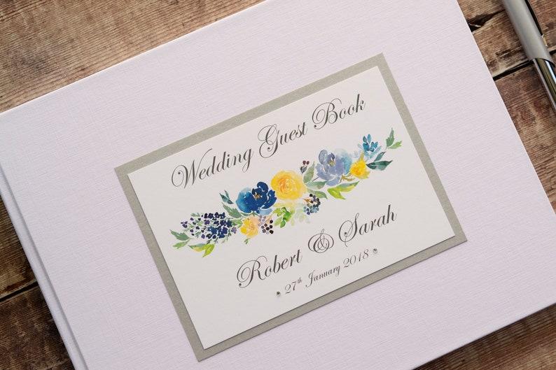 Wedding Gift  Keepsake. Personalised Wedding Guest Book Floral Print Wedding Guest Signing Book