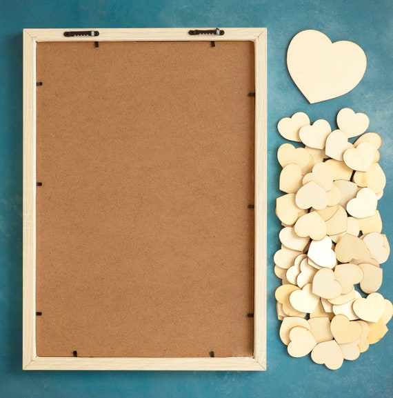 Diy Guest Book Frame Drop Top Wedding Guest Book Frame With 65 4cm Wide Hearts 1 10cm Wide Large Heart Alternative Guest Book