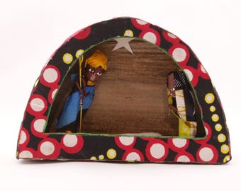 Kitenge Arch Nativity Scene Handmade in Uganda, Africa