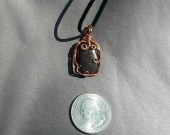 Fire Agate Copper Wire-Wrapped Pendant