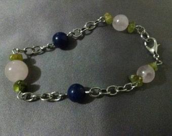 Lapis Lazuli, Rose Quartz, and Peridot Bracelet