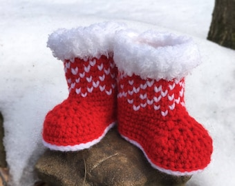 Crochet Pattern Christmas Baby Booties/ Winter Booties Crochet Pattern/ Crochet Pattern Newborn Shoes/ Crochet Pattern Christmas Baby Shoes