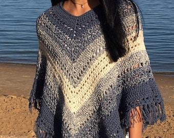 ea1074bc6 Boho Poncho with Fringe- Crochet PATTERN