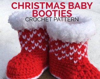 Christmas Baby Booties Crochet Pattern/ Winter Booties Crochet Pattern/ Crochet Pattern Newborn Shoes/ Winter Baby Booties Pattern/ Booties
