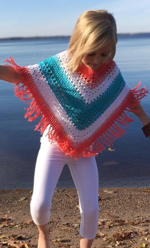 Colorful Boho Poncho For Kids Crochet Pattern Easy Hippie Etsy