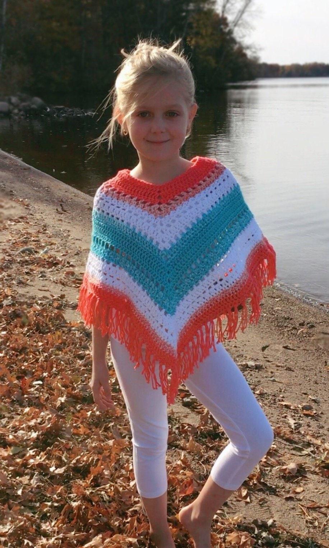 Adorable Boho Poncho For Kids Crochet Pattern Easy Hippie Etsy
