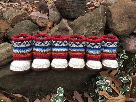 Mini Mukluk Booties Mukluk Baby Boots Mukluk Baby Booties Crochet
