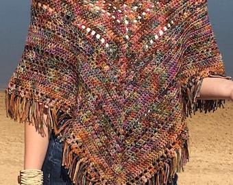 Colorful Poncho Crochet PATTERN