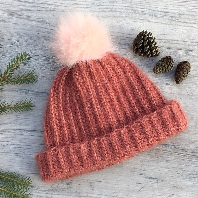 a36ace41ed6 Cuffed Hat with Fur Pom Pom Crochet Pattern  Ribbed Hat  Hat