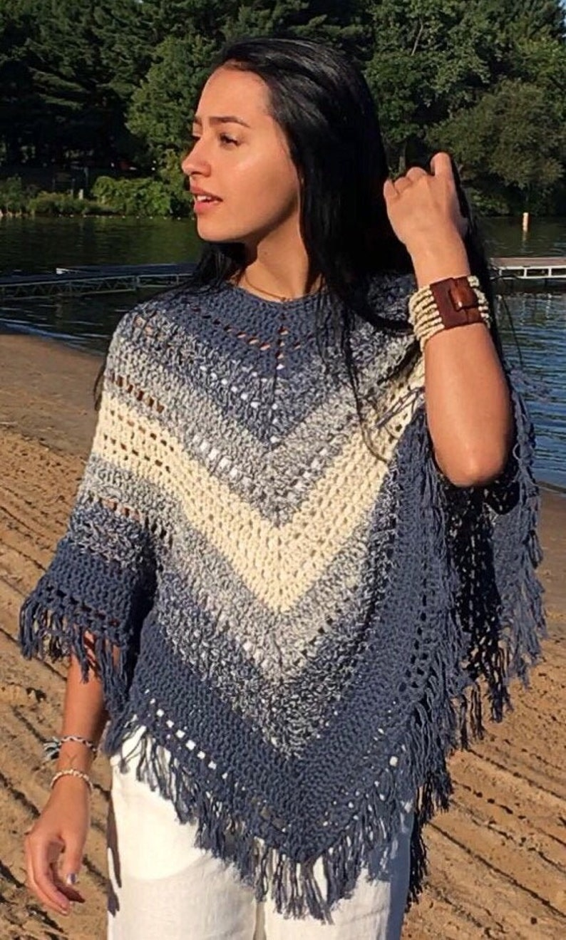 Easy Hippie Poncho Pattern Blue and Cream Boho Poncho Crochet Pattern