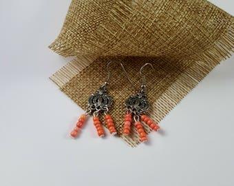 Peach orange chandelier & bead earings