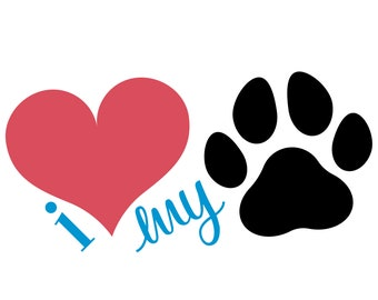 Download Paw Print SVG Paw Love SVG Dog Paw Cat Paw Paw Print | Etsy