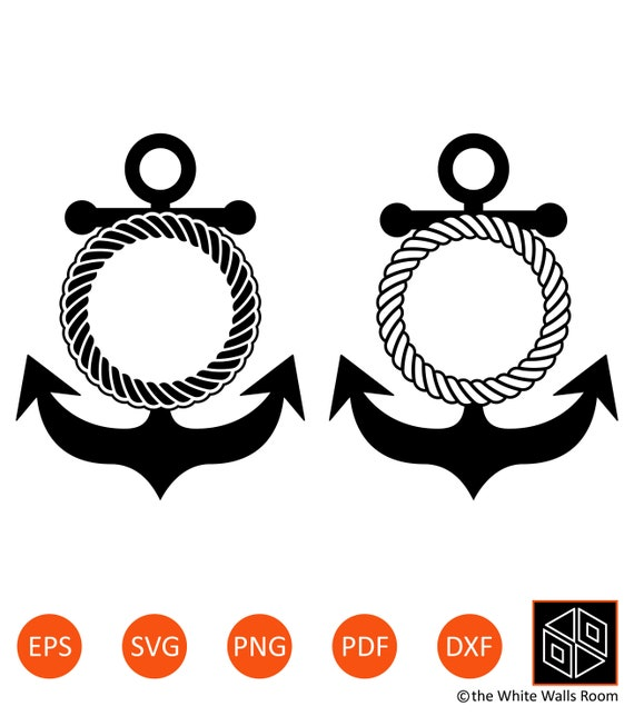 Anchor Monogram Anchor Svg Anchor Rope Marine Elements Etsy